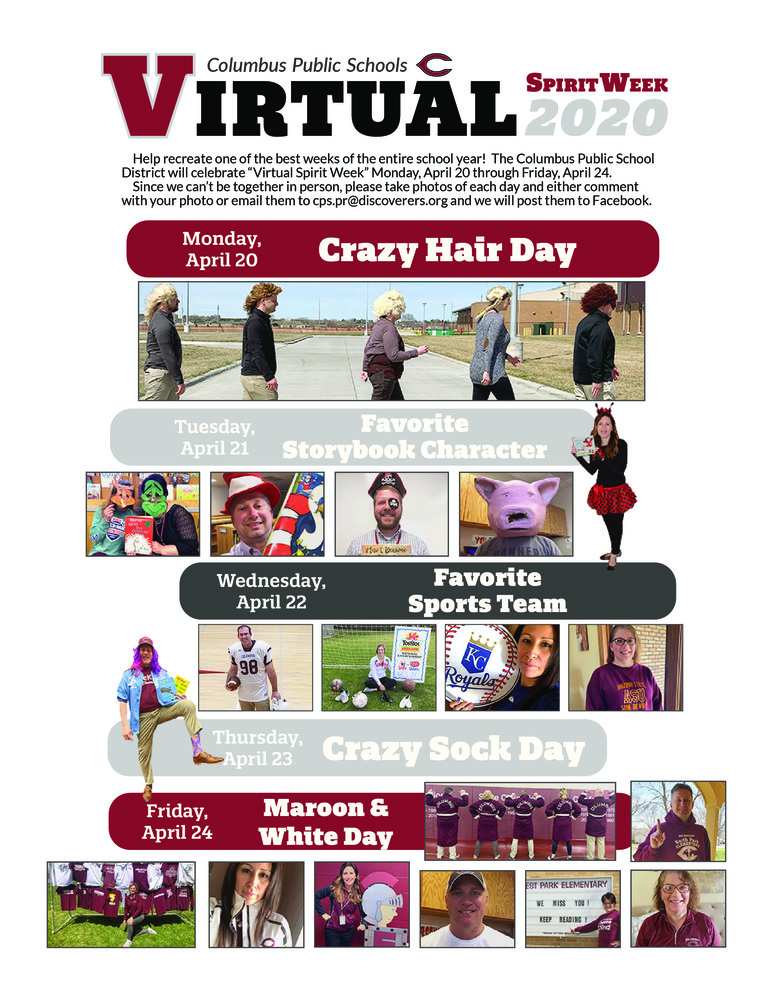 Virtual Spirit Week is April 20th-24th