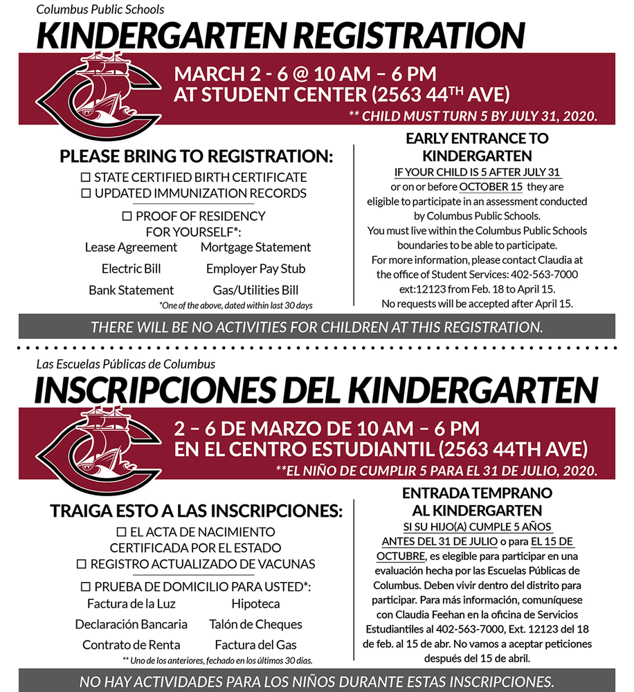 Kindergarten Registration begins March 2, 2020