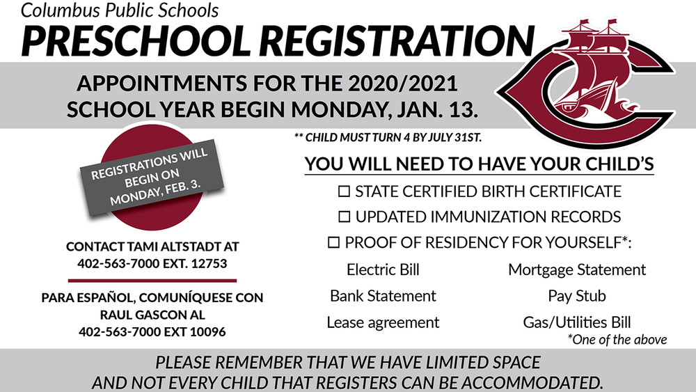 Preschool Registration Begins on January 13th