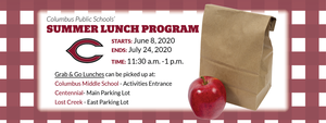 Summer Lunch Program Begins June 8th.
