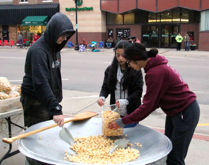 CHS students in Skills USA selling kettle corn at the Columbus Marching Festial.