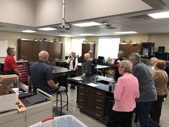 Retired teachers group tour Engineering classroom