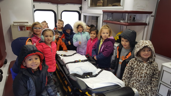 Morning preschool class in the ambulance.