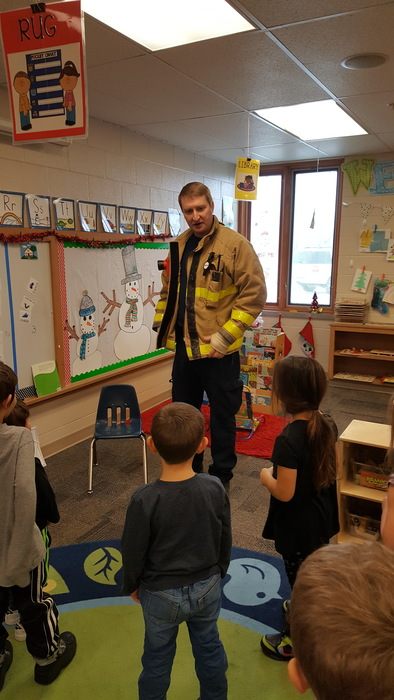 Morning preschool class with Firefighter Kyle.