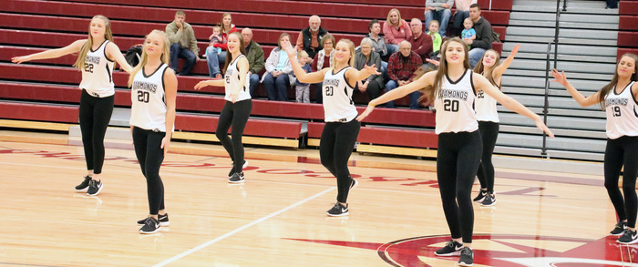 Diamond Dancers perform during half-time of the basketball game against Norfolk
