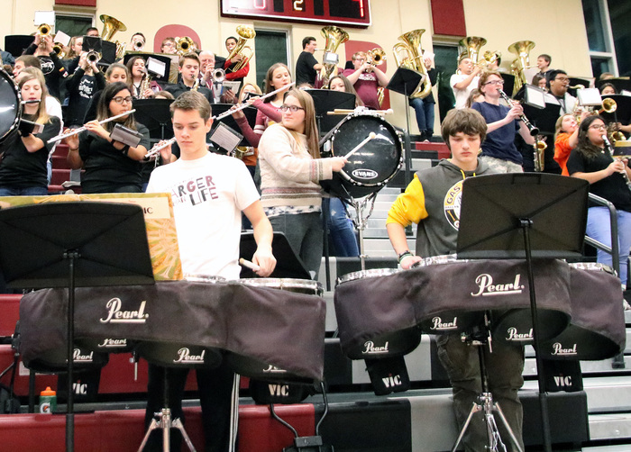 CHS band performing at the basketball game against Norfolk