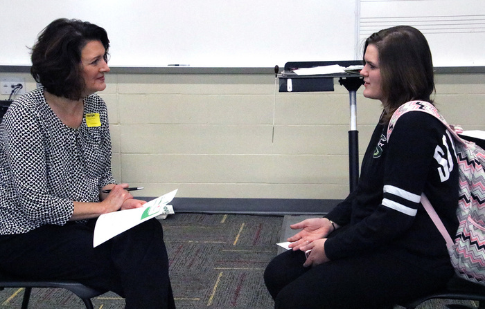 CHS students do practice interviews with local businesses.
