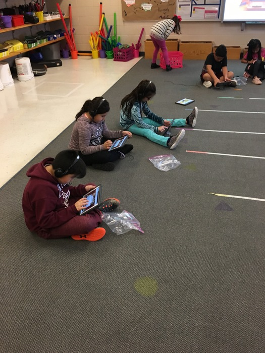 Student's working on their iPads in music writing their own 2 bar compositions