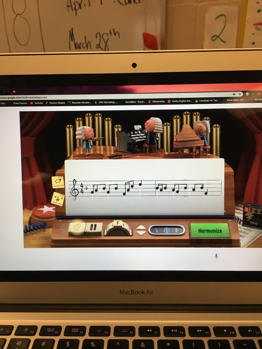 This is what the program looked like that the students were able to use. They got to create their own melodies and then the computer would generate harmonies in the style of bach
