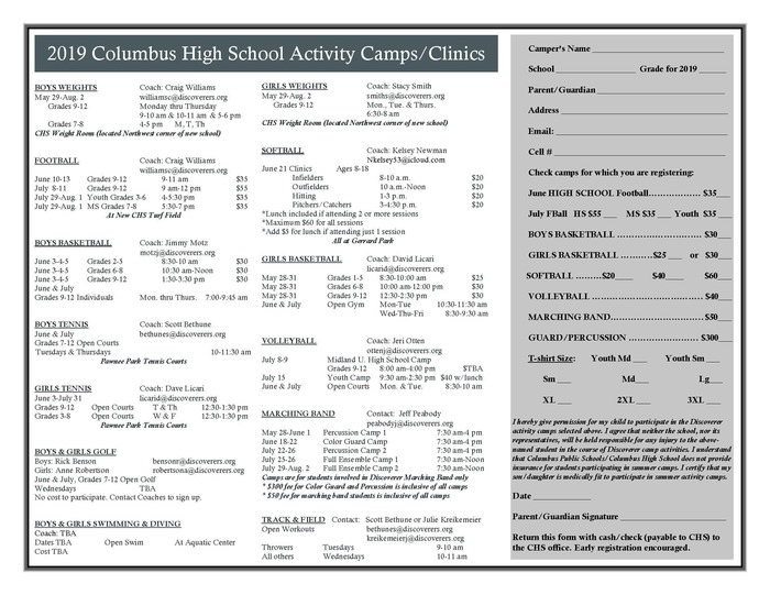 CHS summer activity camps