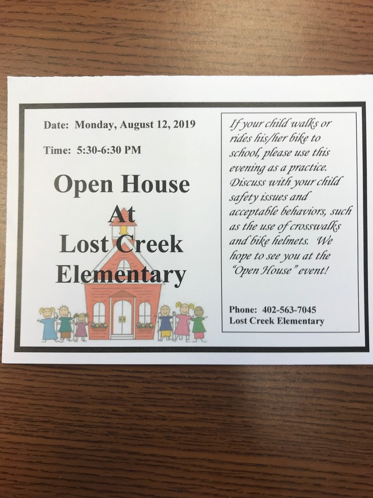 Lost Creek Open House Info. for 8/12/19