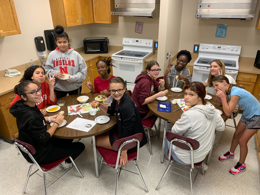 "Students prepared and ate their tacos in Foods 8 class! This was the ""Safety and Sanitation"" lab for the quarter."