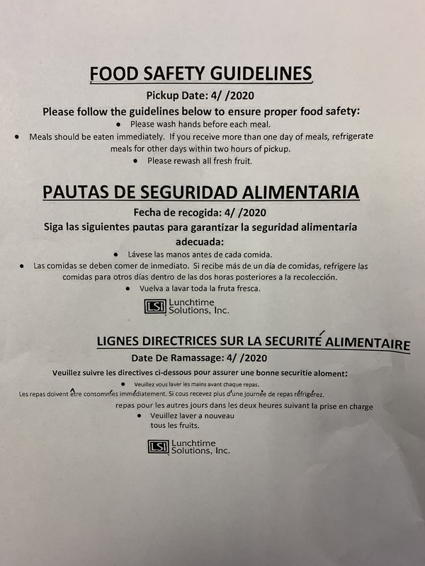 Breakfast/Lunch Program Food Safety Guidelines
